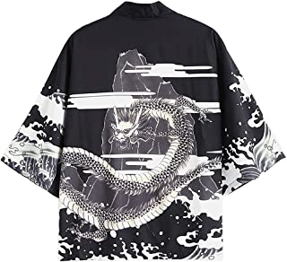 Men's Japanese Style Flower Fish Dragon Printed Kimono Front Open Jacket