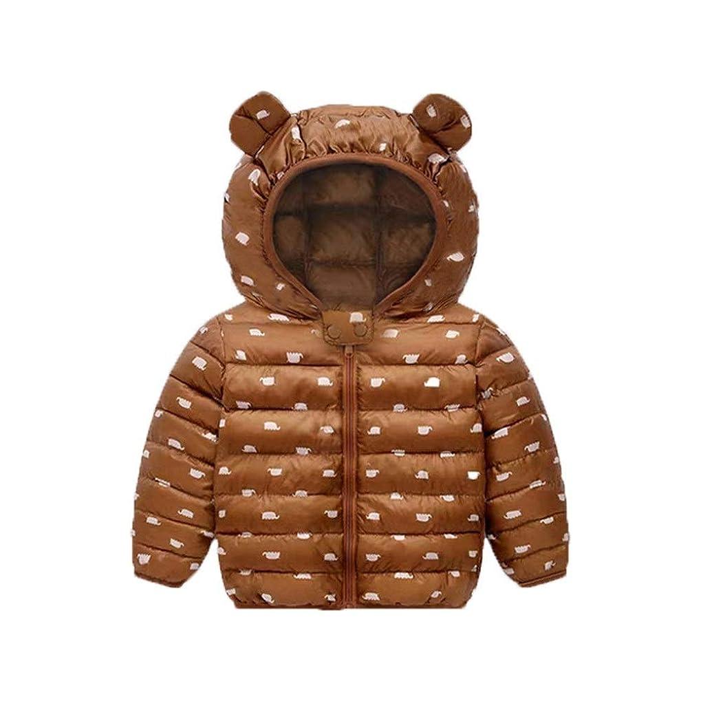 人間ワゴンスワップベビー用コート 秋と冬の新男の子の赤ちゃんライトフード付きコットンの服男性と女性の子供の漫画のコットンコート 防寒 (Color : Brown, Size : 120cm)