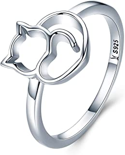 925 Sterling Silver Cat Rings Women Silver Rings Kitty Rings for Girls Valentine's Day Birthday Gifts for her (Adjustable Size)