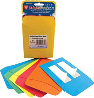 Hygloss Self-Adhesive Library Pockets, Assorted Primary Colors, 3 x 5 Inch, Pack of 30 - 1466248