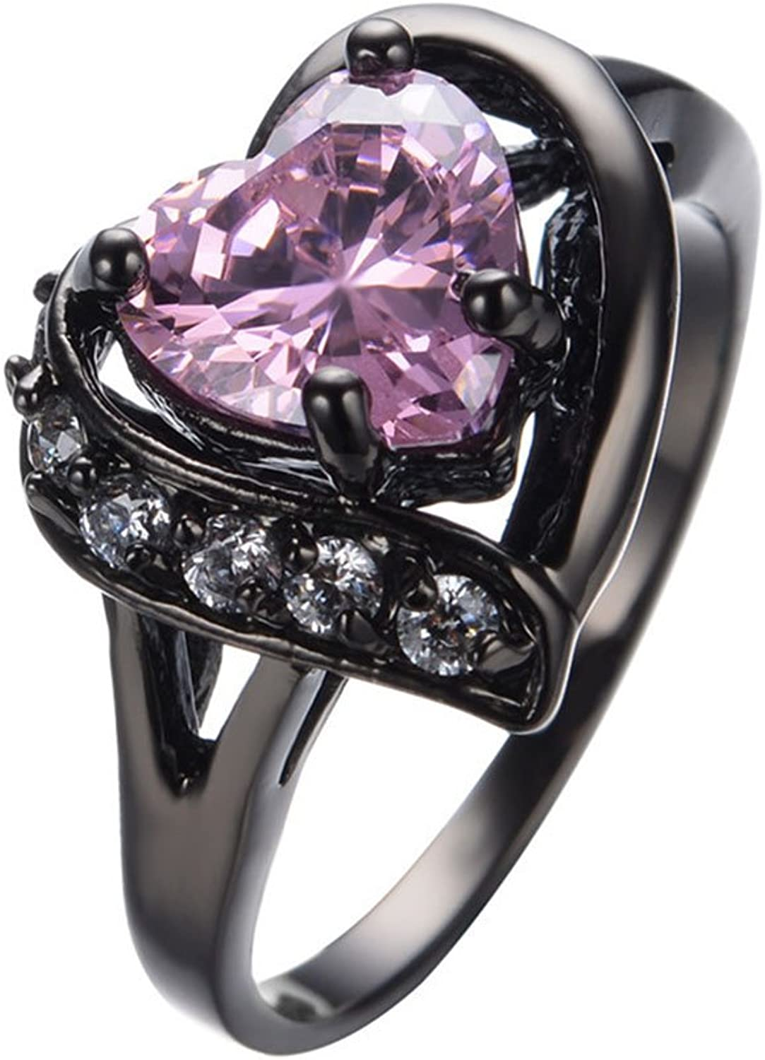 LUXXY Big Heart Bridal Trendy Black gold Filled Cubic Zircon Stone Ring