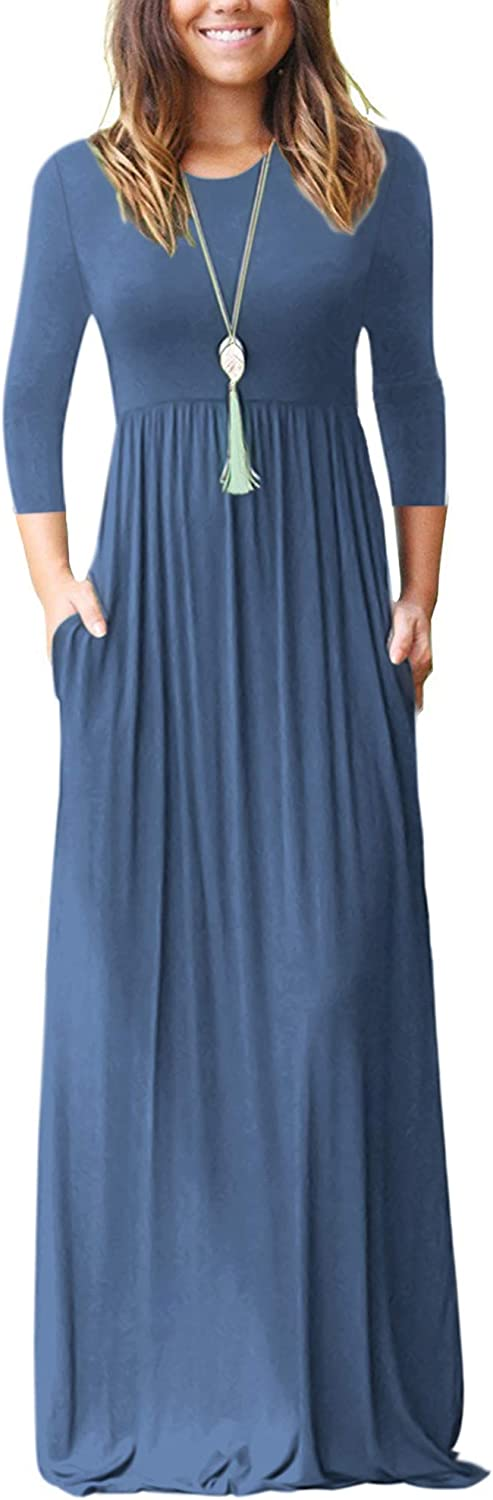 WNEEDU Women's 3/4 Sleeve Loose Casual Long Maxi Dresses with Pockets