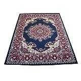 4480 Alfombra oriental clásica de estilo persa, azul