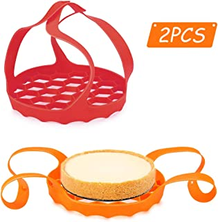 yidenguk 2Pcs Olla a presión Sling, Elevador de Cesta de Vapor de Silicona con Asas Bakeware Lifter Steamer Rack para Olla instantánea 6 / 8Qt, Rojo y Naranja