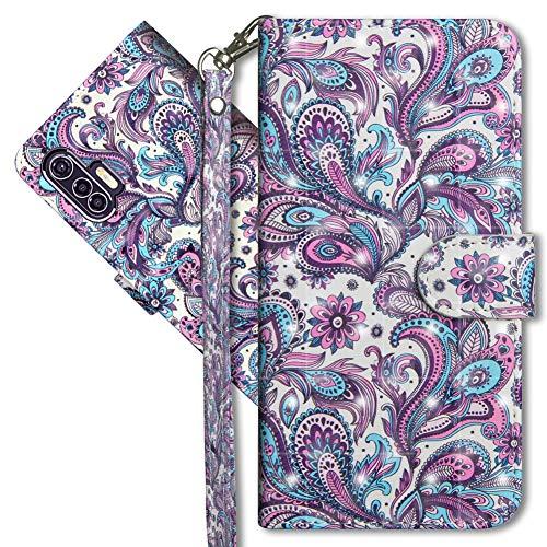 MRSTER Motorola Edge Plus Handytasche, Leder Schutzhülle Brieftasche Hülle Flip Hülle 3D Muster Cover mit Kartenfach Magnet Tasche Handyhüllen für Motorola Moto Edge Plus. YX 3D Peacock Flower