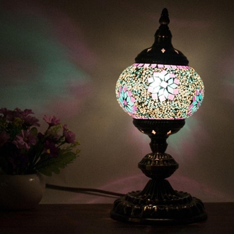 OOFWY E14 LED Lampe stliches Mittelmeer Stil hohe Hhle Wohnzimmer Schlafzimmer Dekor handgefertigtes Mosaik Glas Schreibtischlampe, fr