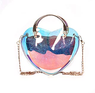 Heart-shaped Transparent Messenger Bag Female Shoulder Bag Chain Bag Handbag (Color : Clear, Size : One size)