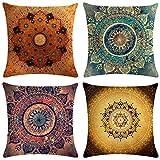 Neusky 4er Set Dekorativ Kissenbezug Mandala Muster 45 x 45cm Sofa Büro Dekor Kissenhülle aus...