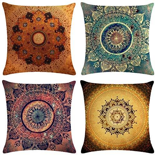 Neusky 4er Set Dekorativ Kissenbezug Mandala Muster 45 x 45cm Sofa Büro Dekor Kissenhülle aus Baumwoll und Leinen (Mandala)