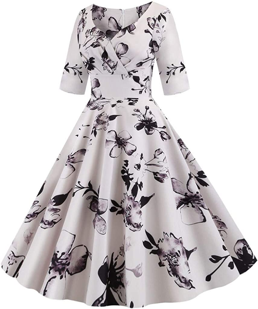 Prom Dresses for Women,Women Vintage Half Sleeve Swing 50s Housewife Casual Evening Party Prom Dress