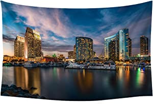 PUPBEAMO PRINTS San Diego Citie - Wall Tapestry Art for Home Decor Wall Hanging Tapestry 60x40 Inches