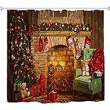 ABRAN Conjunto de Ducha de Chimenea Vtage Navidad Tejido de Vacaciones Decoración de baño Eve Año Nuevo Baño Cama Impermeable Ducha Showerlong ChRed Brown