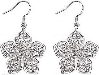Niome Women Hollow Out Earrings Flower Pendant Drop Dangle
