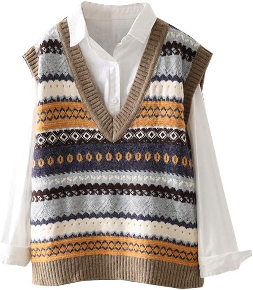 Ladyful Women's V Neck Knit Vest Jacquard Weave Sleeveless Sweater Top Coat