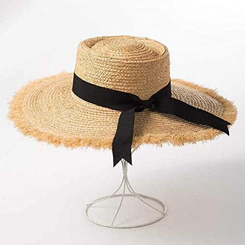 QQHBC Chapeau De Paille Chapeaux De Soleil D'été pour Femmes Dames Large Bord Plat Top Noeud Noir Noeud Lafite Paille Plage Chapeau Bonnet Design De Mode Vacances Voyage