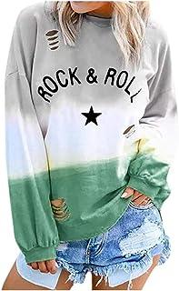 La Sra Degradado de Color Camiseta de la Camisa del suéter Camisa de Manga Larga