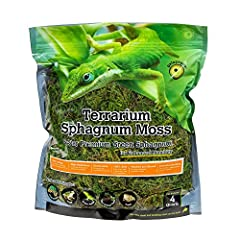 Long-Lasting: Long-Fiber and Leafy Green Sphagnum Moss High Absorbency: Controls Tropical & Wetland Humidity Sustainable: Ecologically Regulated Harvests Washed & Sieved for the Cleanest Possible Moss Essential Bedding for Anoles, Salamanders, Frogs ...