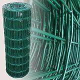 Länge: 25 m / Höhe: 80 cm / Maschenweite: 7,5 x 10 cm Material: verzinkter Stahldraht / Verarbeitung: Punktverschweißung Gesamtmaterialstärke: 2,1 mm inklusive PVC-Beschichtung Beschichtung: PVC Beschichtung Farbe: Grün (RAL 6005)