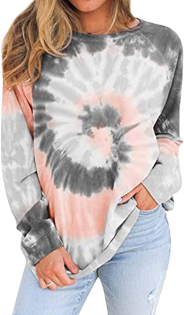 Womens Tie Dye Long Sleeve Sweatshirt Casual Crewneck Loose Pullover Tops Shirts
