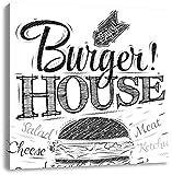 Burger House Schwarz/Weiß, Format: 70x70 auf Leinwand, XXL riesige Bilder fertig gerahmt mit Keilrahmen, Kunstdruck auf Wandbild mit Rahmen, günstiger als Gemälde oder Ölbild, kein Poster oder Plakat