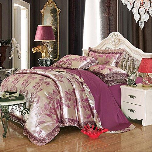 BB.er Tencel ensembles de literie d'été jacquard de coton doux et lisse satin home literie collection, Silver Purple, 200X230cm