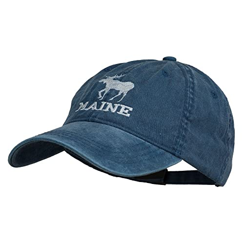 6778d141fa2f9 E4hats Maine State Moose Embroidered Washed Dyed Cap - Navy