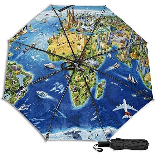 Weltkarte manuell dreifach faltbar kompakt Reiseregenschirm UV-Schutz stark Winddicht