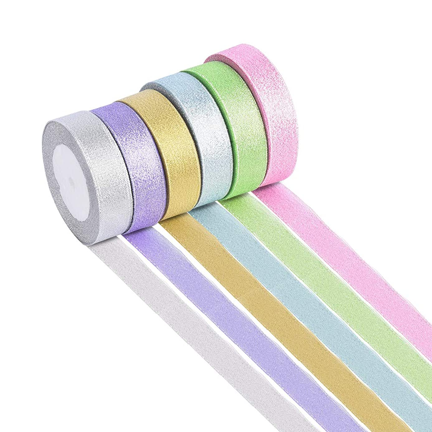 150 Yard 4/5 inch Wide Lace Tule Fabric Ribbon Silk Satin Ribbon Roll 6 Colors for DIY Crafts Arts, Bows Gift Wrapping, Floral Projects, Card Making, Embellish Ribbon for Bows Crafts, Party Wedding