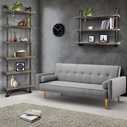 Diwhy Industrial Pipe Shelves Rustic Modern Wood Ladder Bookcase with Metal Frame,Pipe Wall Shelf,Wood Storage,Home Decor,Display Shelving,Retro Floating Wood Shelving,6 Layer Bookshelf