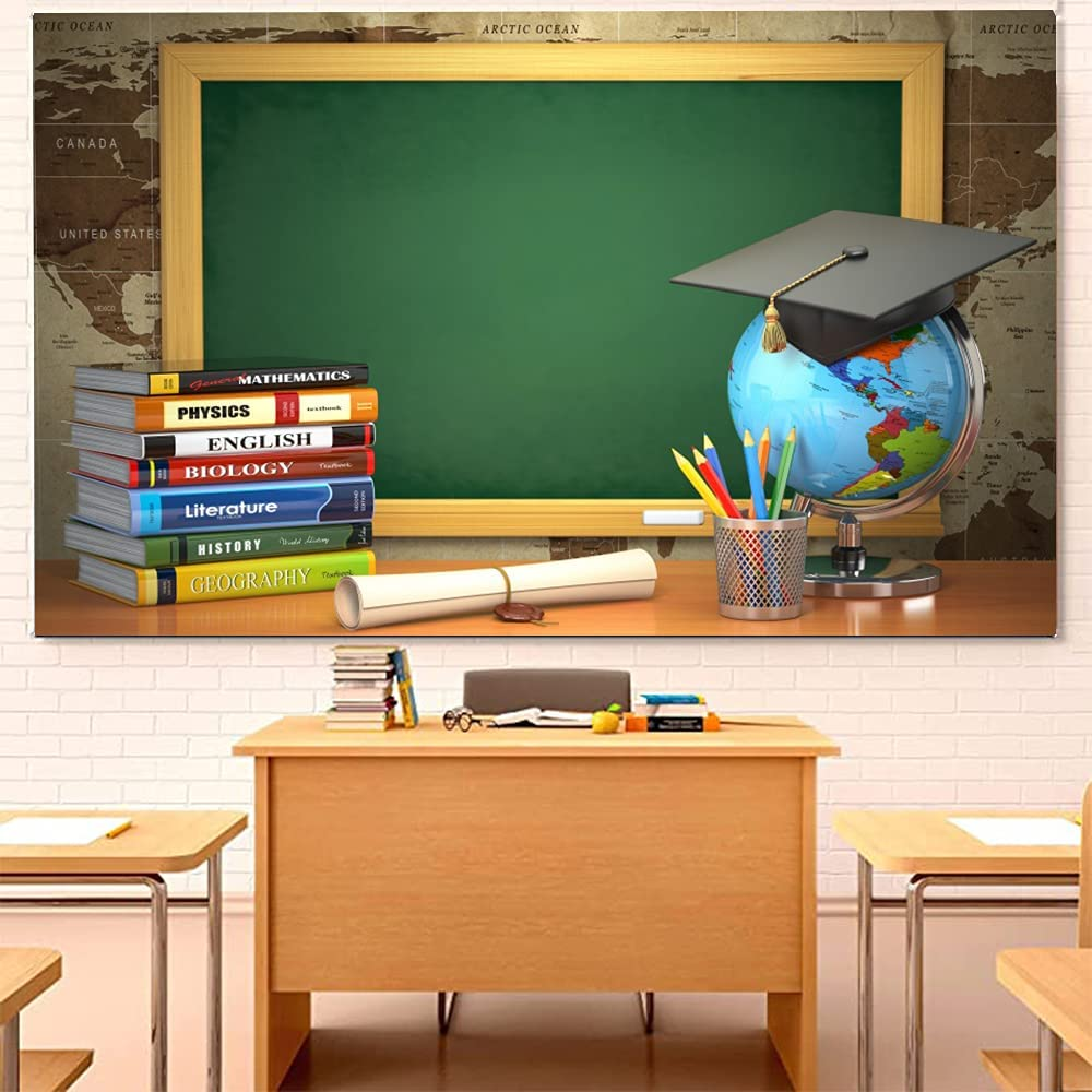 CSFOTO 5x3ft Back to School Backdrop Blackboard Cheap mail order sales Books Tellurion OFFicial