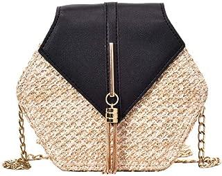 HuaMore Sac d/épaule Mode Femme Cuir /à Tissage r/étro Sac de cha/îne de Gland Sac bandouli/ère