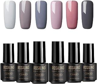 ROSALIDN Esmalte Semipermanente de Uñas en Gel UV LED Color Desnudo Esmalte de Uñas 6pcs Kit Uñas de Gel Manicura Soak off...