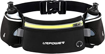 URPOWER Upgraded Running Belt with Water Bottle, Running Fanny Pack with Adjustable Straps, Large Pocket Waist Bag Phone Holder for Running Fits 6.5 inches Smartphones, Running Pouch for Men and Women