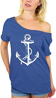 Awkwardstyles Women's Anchor White Off Shoulder Tops T-Shirt + Bookmark