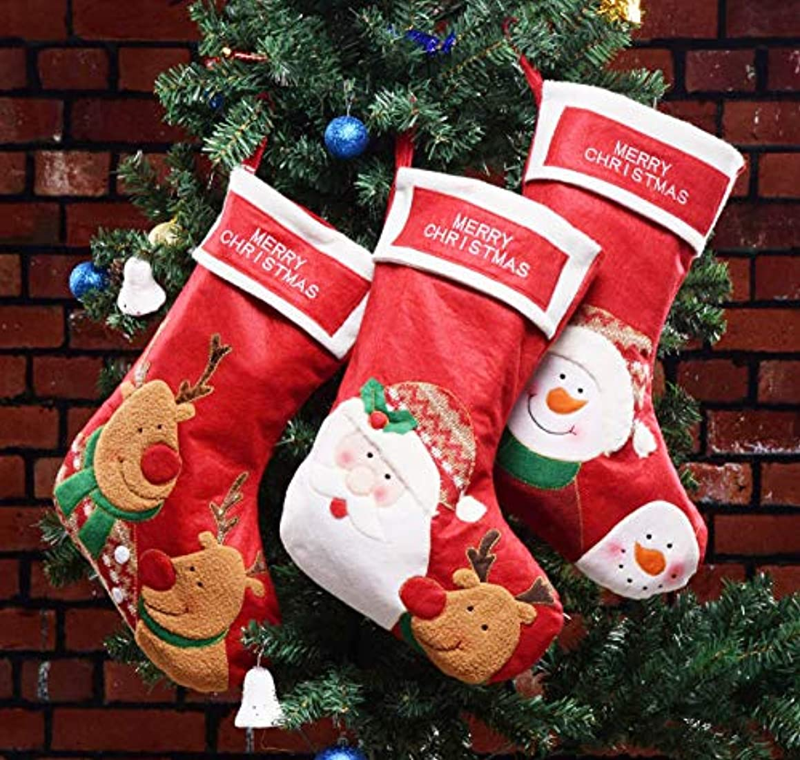 Shelly Christmas Stocking,3 Pcs Set of 18 Big Size Santa Snowman Reindeer Xmas Character 3D Plush Faux Fur Cuff Christmas Decorations Party Accessory.
