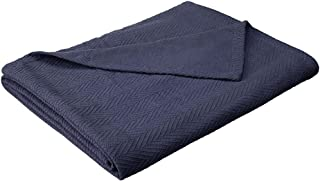 eLuxurySupply Metro Weave Blanket - 100% Soft Premium Cotton Blanket - Perfect for Layering Any Bed, Twin/Twin XL, Navy Blue