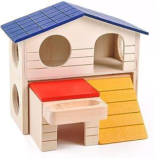 折り畳み式 ハムスター ペット キャビン 小動物 家2層木製小屋小動物ケージプラットフォームプレイ運動咀 おもちゃ