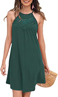 Womens Teen Girls Lace Patchwork Sleeveless Sundress Summer Prom Party Cocktail Mini Skater Dress
