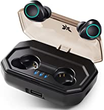 True Wireless Earbuds, Axloie Bluetooth 5.0 Wireless Headphones 130H Playtime in-Ear Stereo Calls Built-in Mic CVC 8.0 Noise Cancelling TWS IP65 Waterproof for Sport Runing Gym (Black)