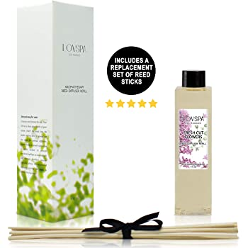 LOVSPA Fresh Cut Flowers Reed Diffuser Oil Refill with Replacement Reed Sticks - Floral Diffusing Oil Liquid for Scented Sticks, 4 Ounces