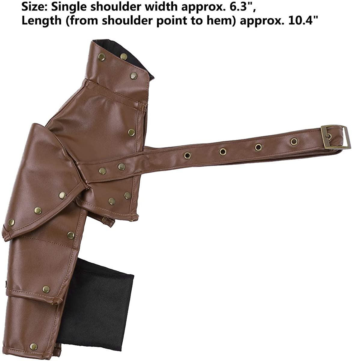 Freebily Gothic Steampunk Faux Leather Adjustable Metal Rivets Single Shoulder Armor Body Chest Harness Cosplay Costume Accessory