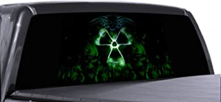 VuScapes - 792-SZD- RADIOACTIVE SKULL Rear Window Truck Graphic - decal suv view thru vinyl