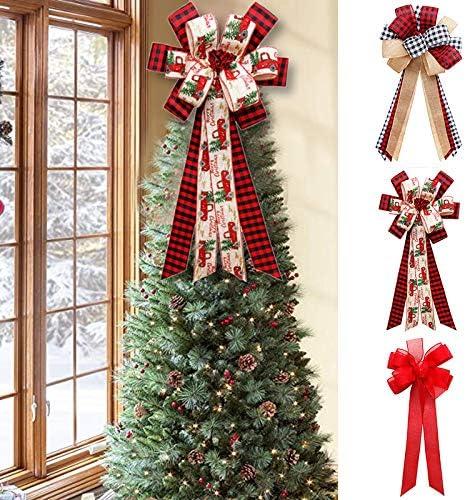 Trade Star Exports Christmas Tree Topper Buffalo Plaid Red Black Burlap Decorative Bow Rustic Farmhouse Xmas Decorations Home Decor