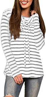 Long Sleeve Cowl Neck Stripe Pullover Blouse Tops Women's (Color : White, Size : L)