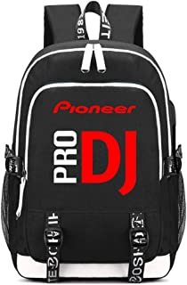 Pioneer DJ PRO Printing Backpack Students School Bags Teenagers USB Charging Laptop Daypacks (Black)