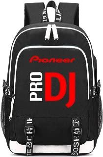 Pioneer DJ PRO Printing Backpack Students School Bags Teenagers USB Charging Laptop Daypacks (Black)