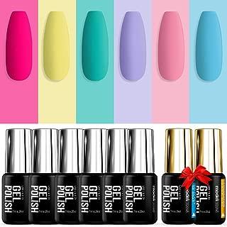 Modelones Gel Nail Polish Set with Gel Base Top Coat - UV LED Soak Off Gel Polish Kit of 6 Candy Rainbow Bright Colors in Nail Art Box, 0.25OZ 7ML