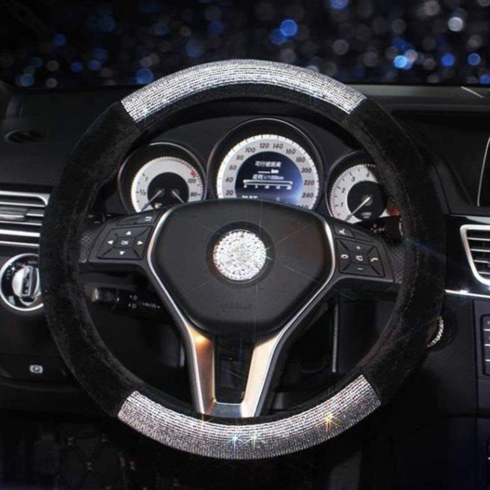 ALVAZA Rheinstone Popular standard Bling New products, world's highest quality popular! Steering Wheel Warm So Winter Cover with