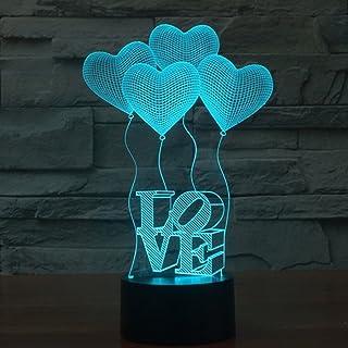 Ledmomo - Lámpara 3D, luz nocturna, luz de ambiente, lámpara de mesa decorativa, de corazones
