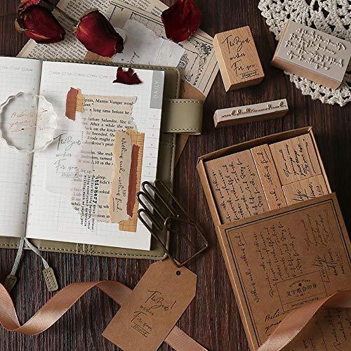 Sello 8 unids/Set Frases Vintage en inglés Madera DIY artesanía Goma de Madera para Scrapbooking Diario Scrapbooking estándar